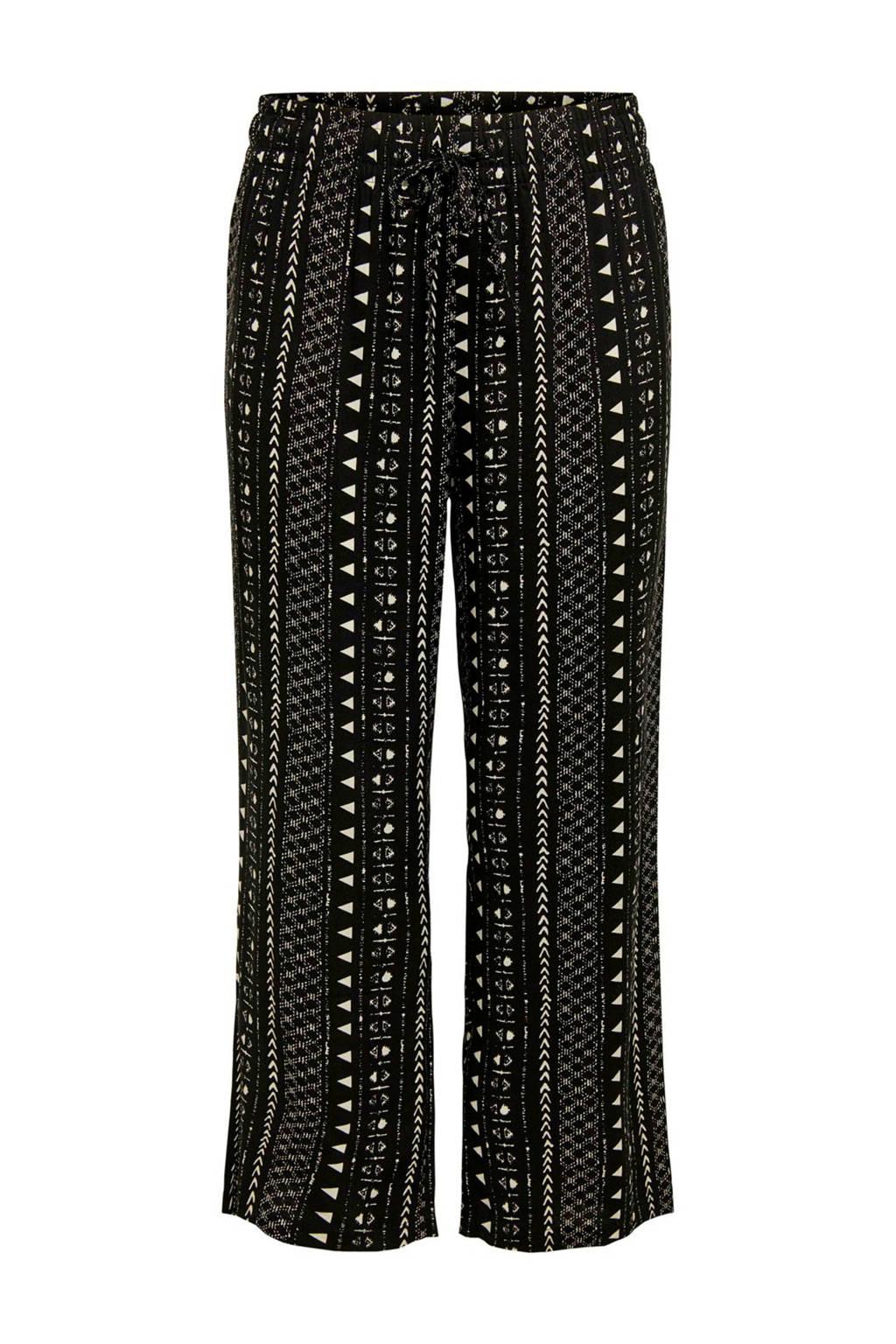 JACQUELINE DE YONG loose fit broek met all over print zwart, Zwart