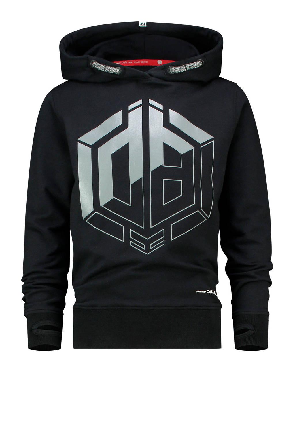 Vingino Daley Blind hoodie Daley Blind met logo zwart/zilver, Zwart/zilver