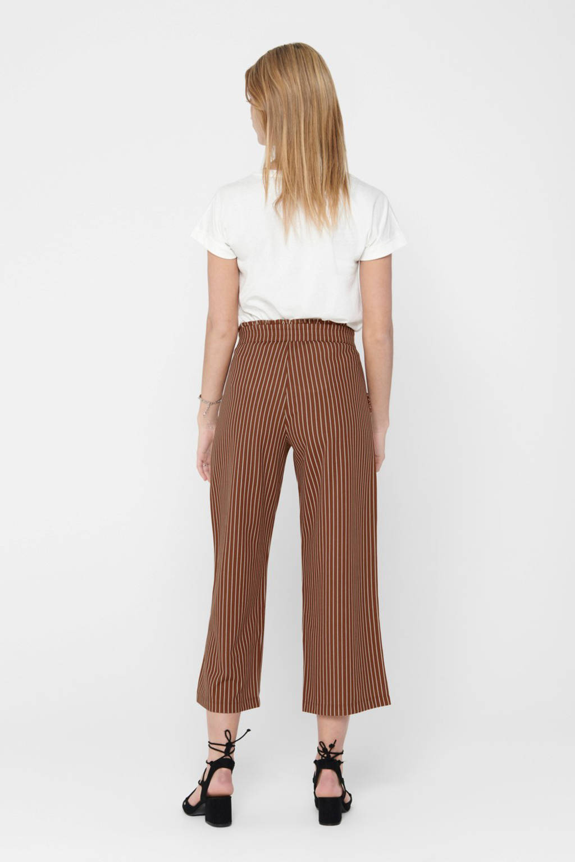JACQUELINE DE YONG high waist culotte broek met krijtstreep bruin/wit, Bruin/wit