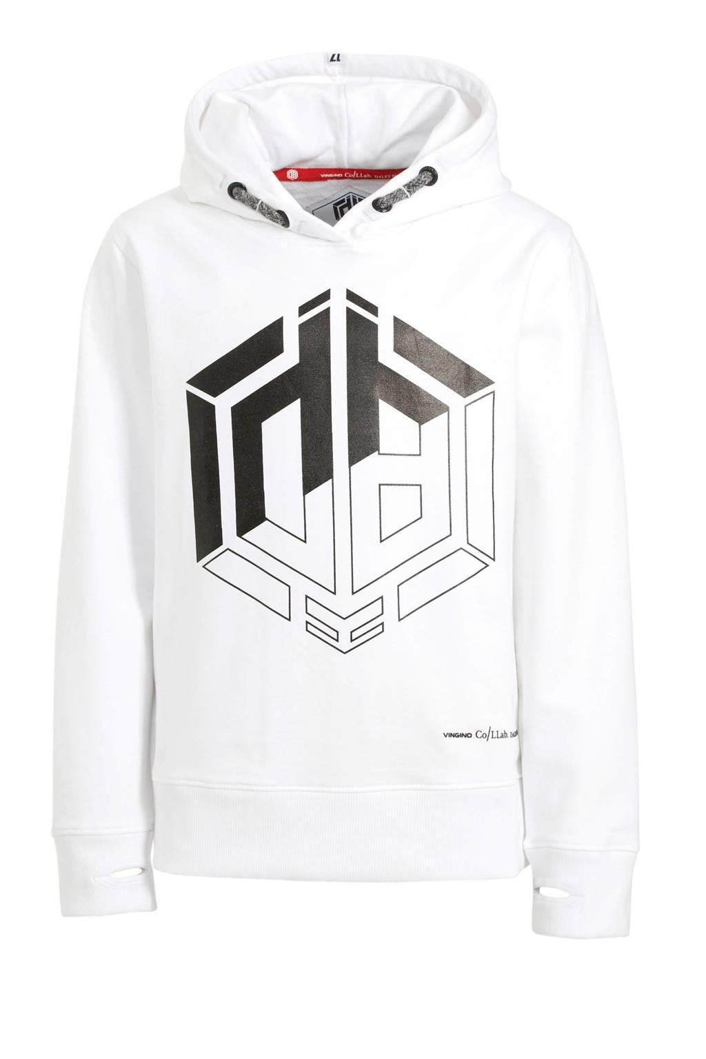 Vingino hoodie Daley Blind met logo wit/geel, Wit/zwart