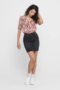 JACQUELINE DE YONG blouse met zebraprint rood/wit, Rood/wit