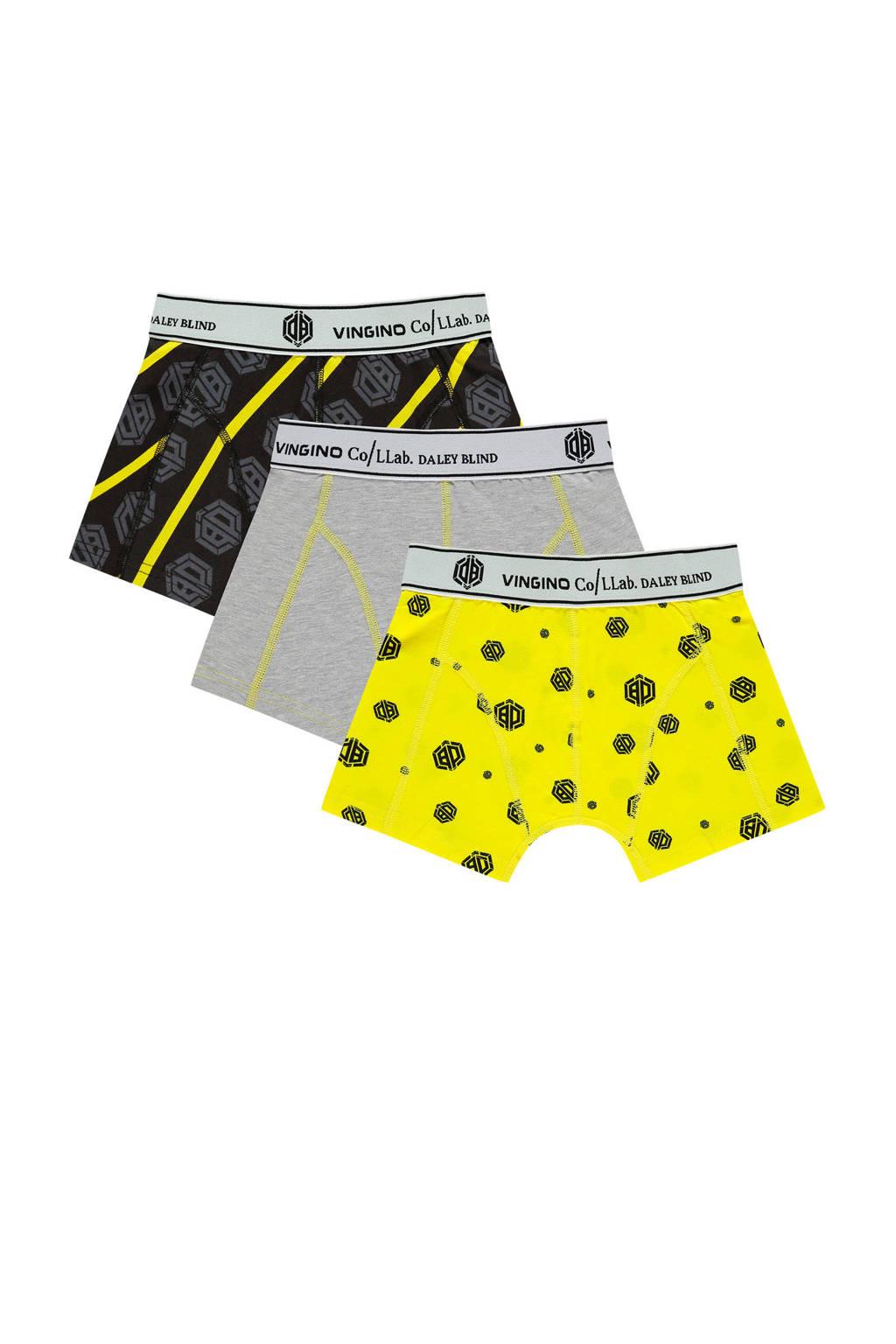 Vingino Daley Blind   boxershort - set van 3 geel/grijs/zwart, Geel/Grijs/Zwart