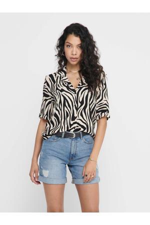 blouse met zebraprint zwart/wit