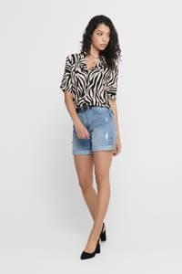 JACQUELINE DE YONG blouse met zebraprint zwart/wit, Zwart/beige