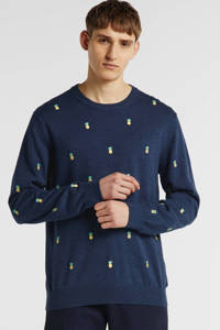 IZOD trui met all over print blauw/geel/groen, Blauw/geel/groen