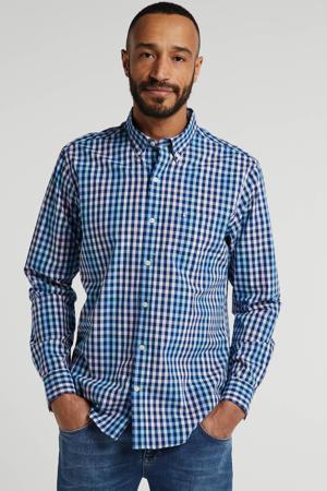 geruit regular fit overhemd blauw