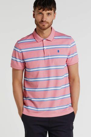 gestreepte slim fit polo roze/wit/blauw