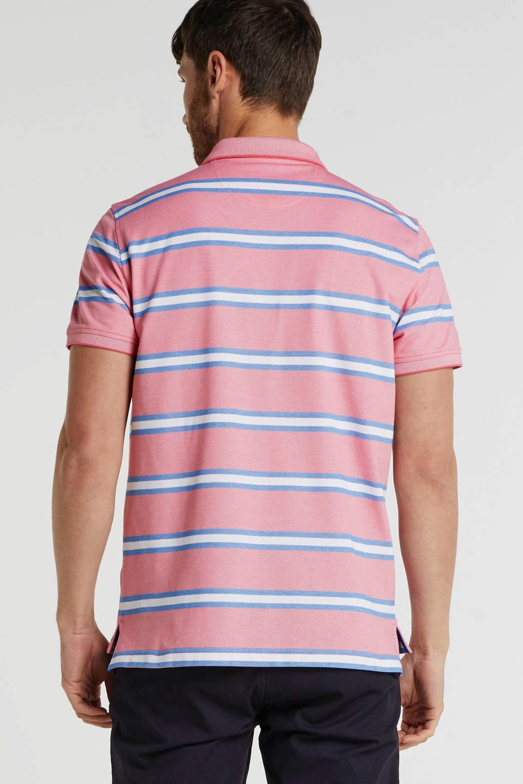 IZOD gestreepte slim fit polo roze/wit/blauw, Roze/wit/blauw