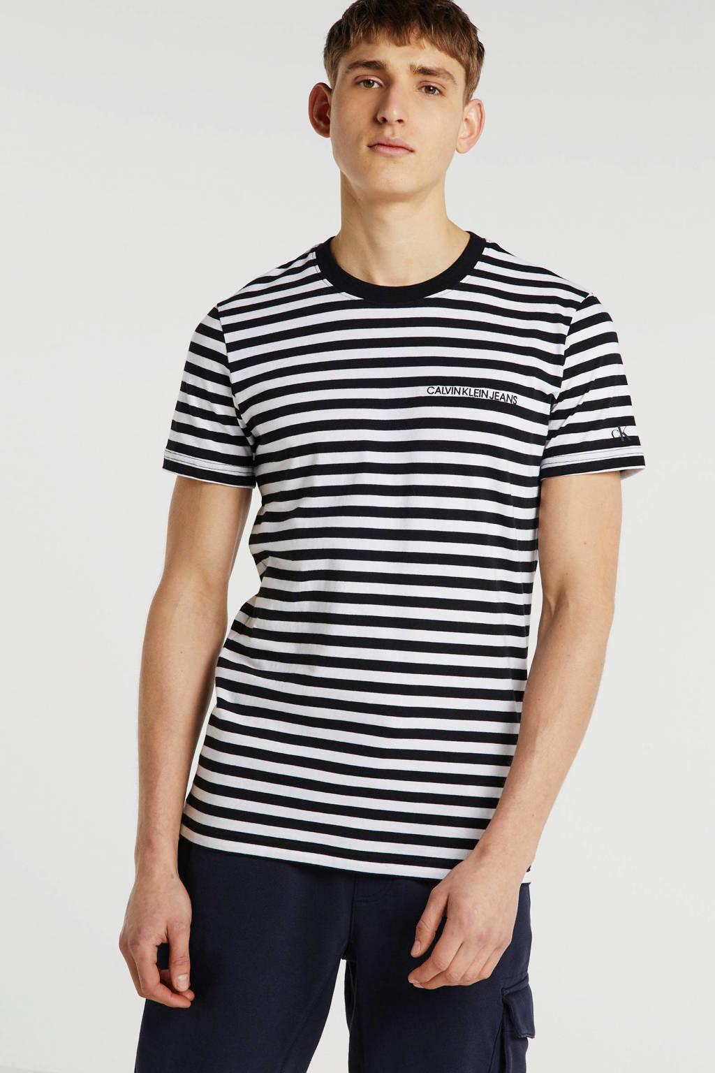CALVIN KLEIN JEANS gestreept T-shirt wit, Wit