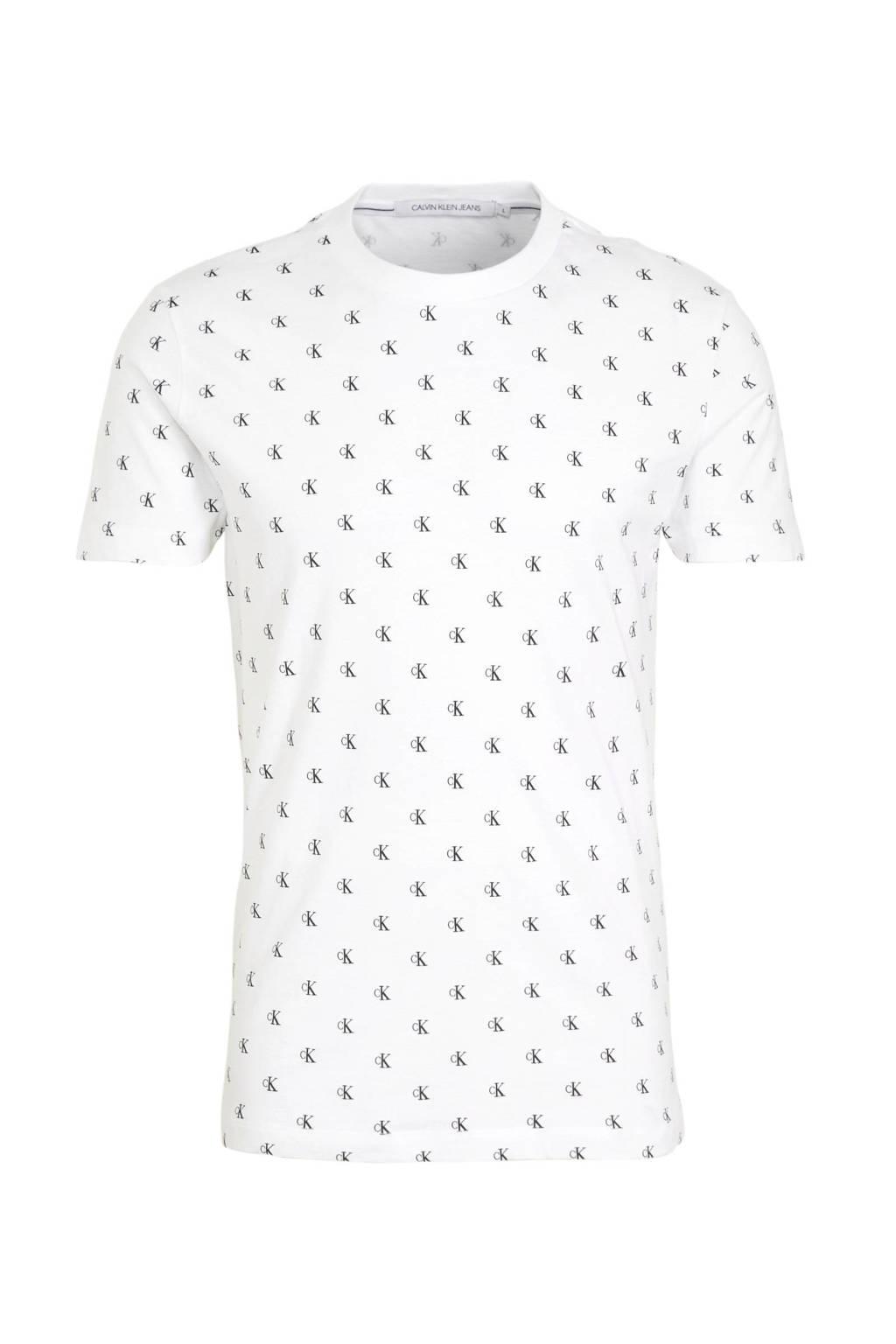 CALVIN KLEIN JEANS T-shirt met all over print wit/zwart, Wit/zwart