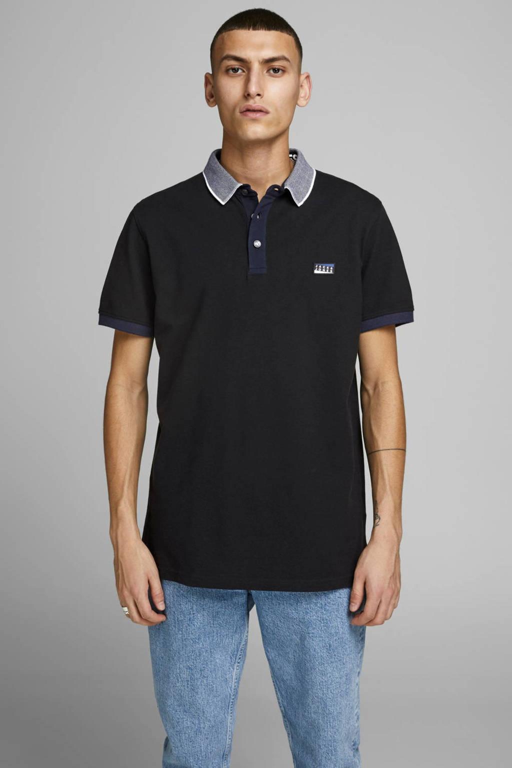 JACK & JONES CORE slim fit polo met logo zwart, Zwart