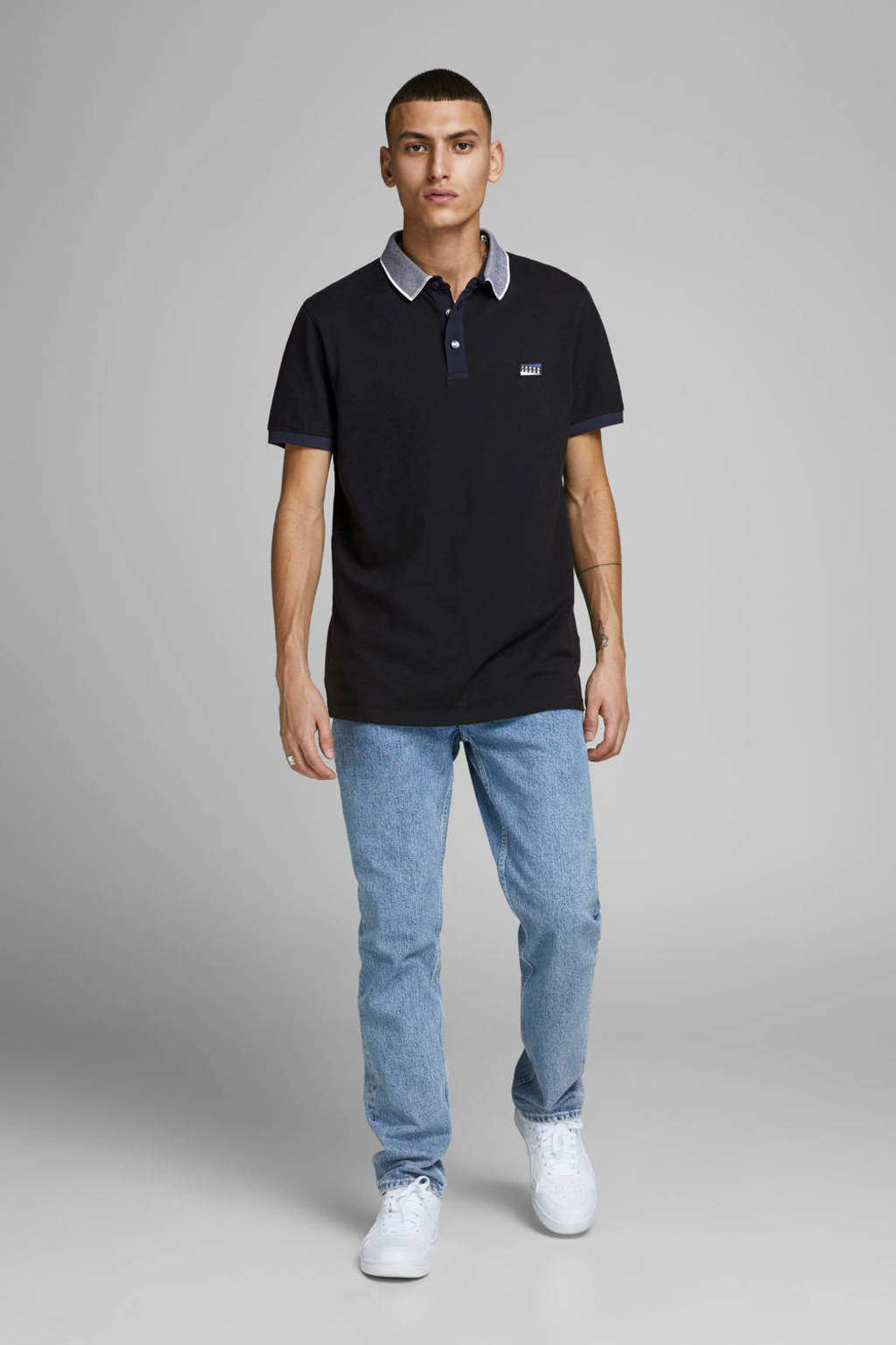 JACK & JONES CORE slim fit polo met logo zwart, Zwart