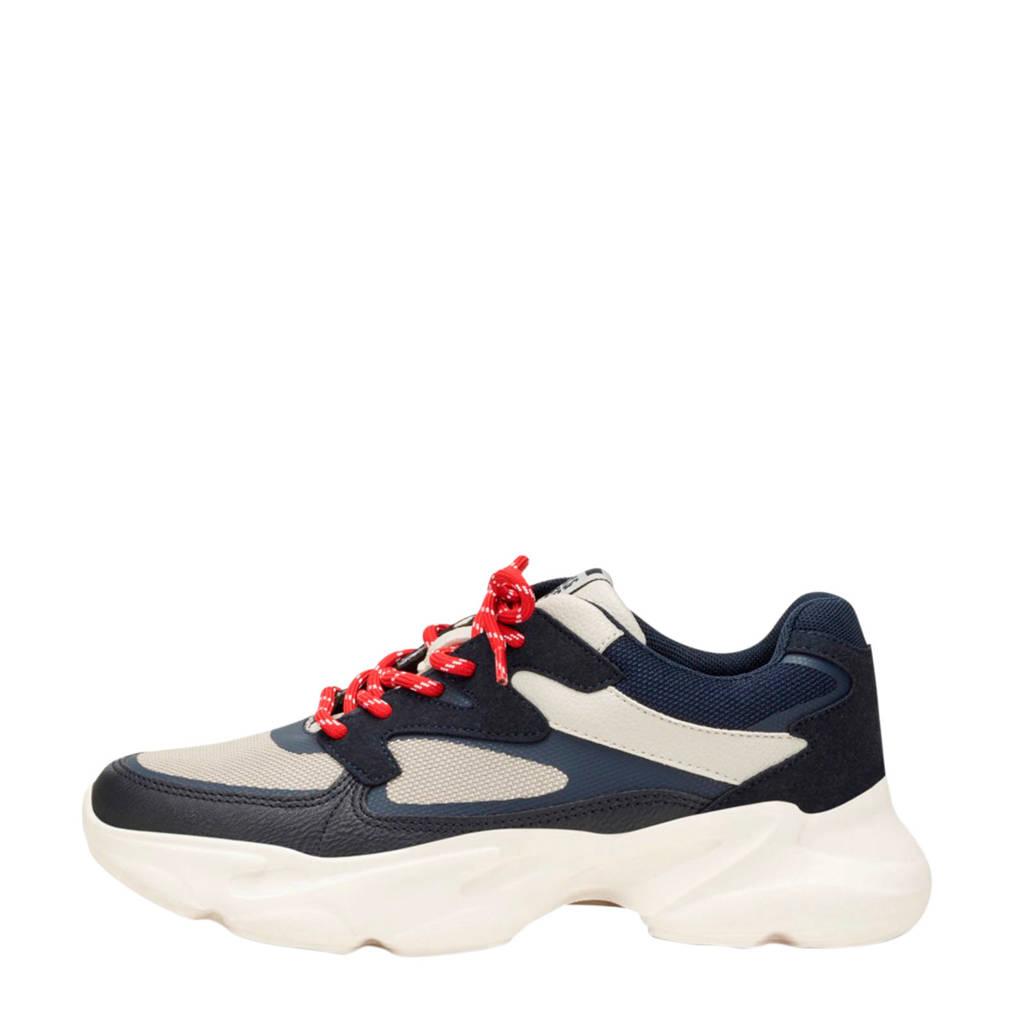 JACK & JONES JUNIOR   chunky sneakers blauw/beige, Blauw/beige/rood