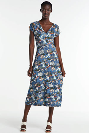 jersey jurk met bladprint blauw