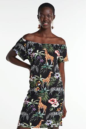 jersey jurk met dierenprint zwart/multi