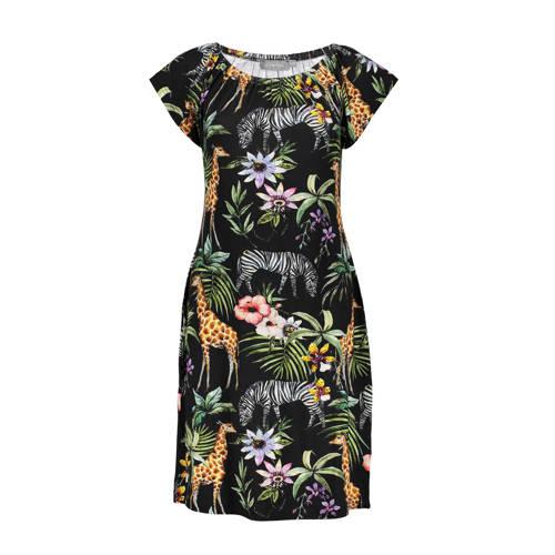 Geisha jersey jurk met dierenprint zwart multi, Deze damesjurk van Geisha is gemaakt van een viscosemix. De jurk heeft verder een ronde hals en kapmouwtjes.Extra gegevens:Merk: GeishaKleur: ZwartModel: Jurk (Dames)Voorraad: 6Verzendkosten: 0.00Plaatje: Fig1Maat/Maten: 2XLLevertijd: direct leverbaar
