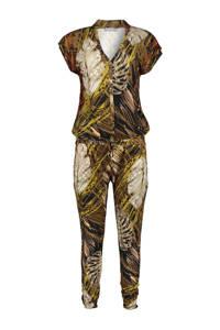 Geisha jumpsuit met all over print groen/bruin, Bruin/geel/zwart