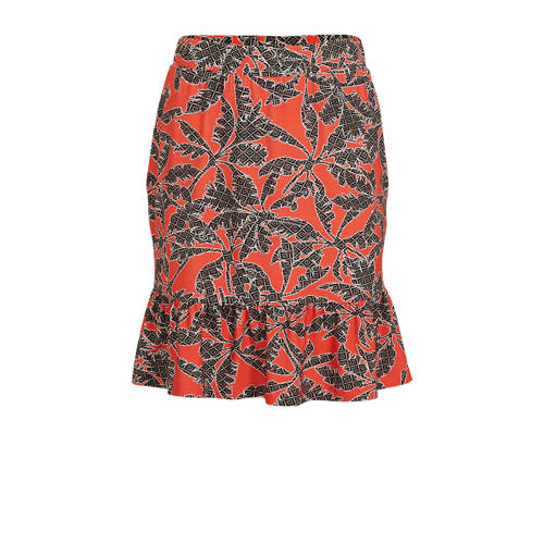 Geisha rok met all over print en volant rood/donke
