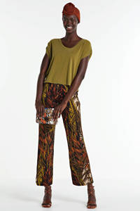 Geisha high waist straight fit broek met all over print donkergroen, Donkergroen