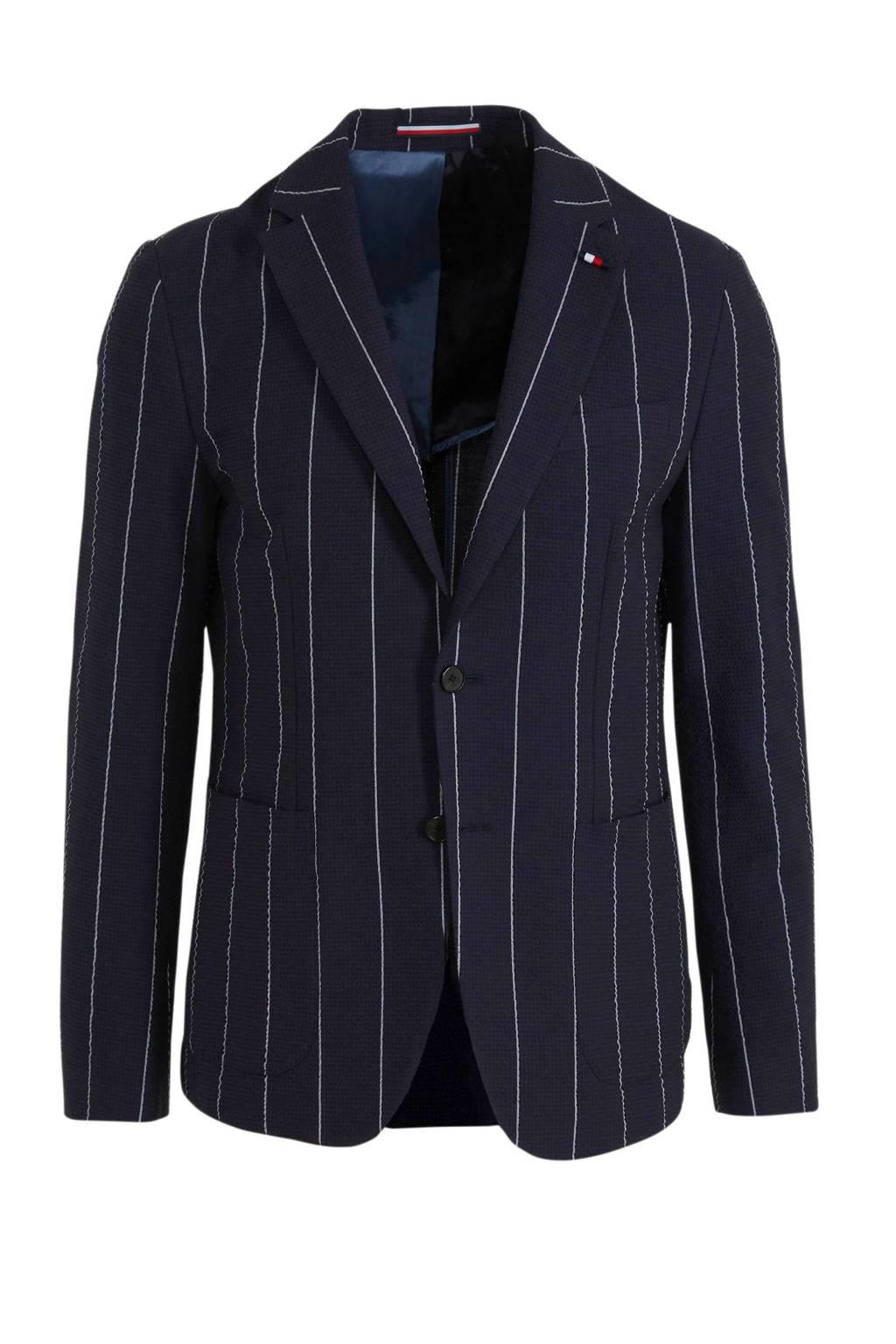 Tommy Hilfiger Tailored regular fit colbert met krijtstreep marine/wit, Marine/wit