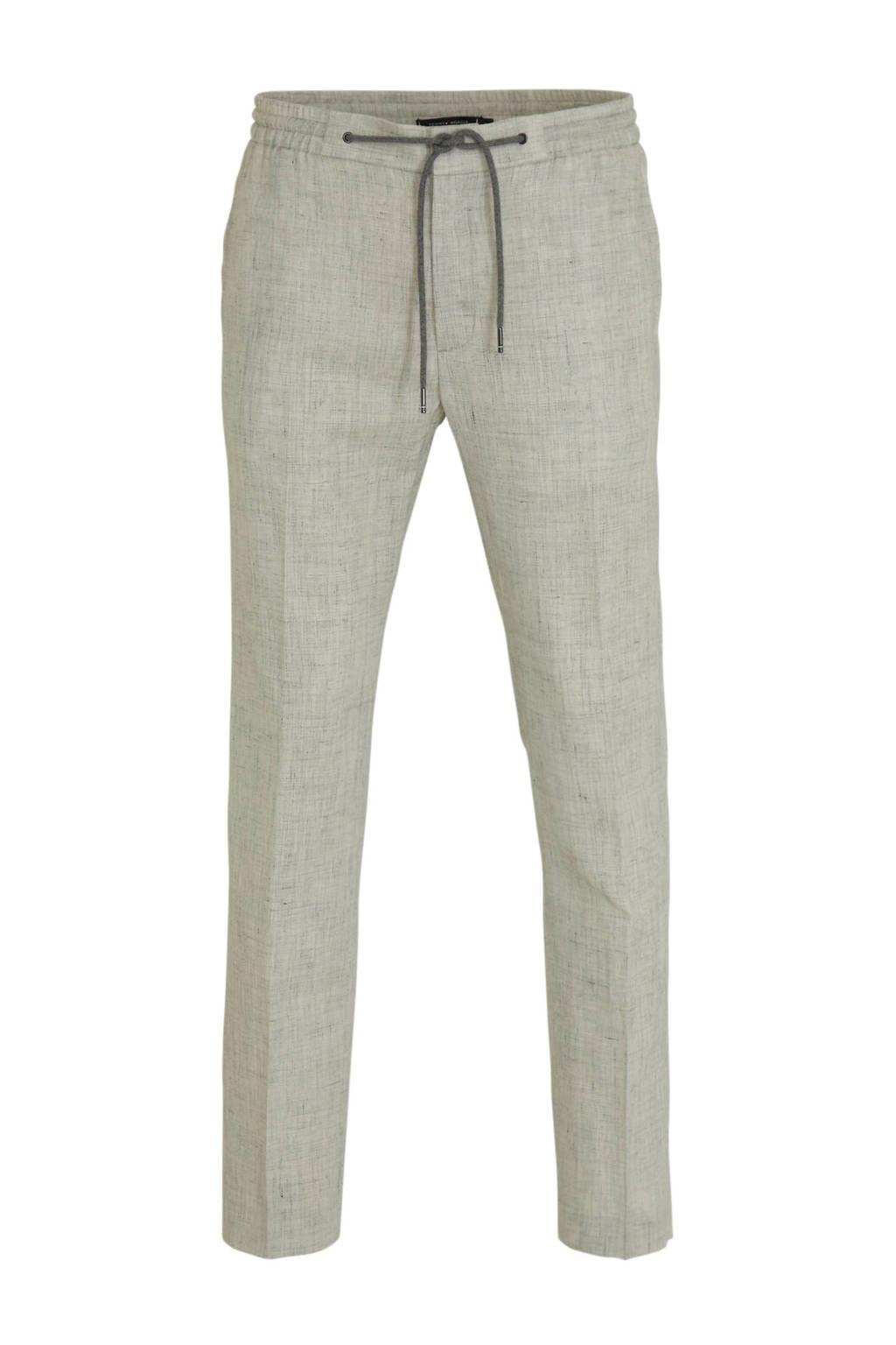 Tommy Hilfiger Tailored slim fit pantalon met linnen grijs, Grijs