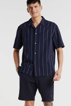 gestreept regular fit overhemd marine