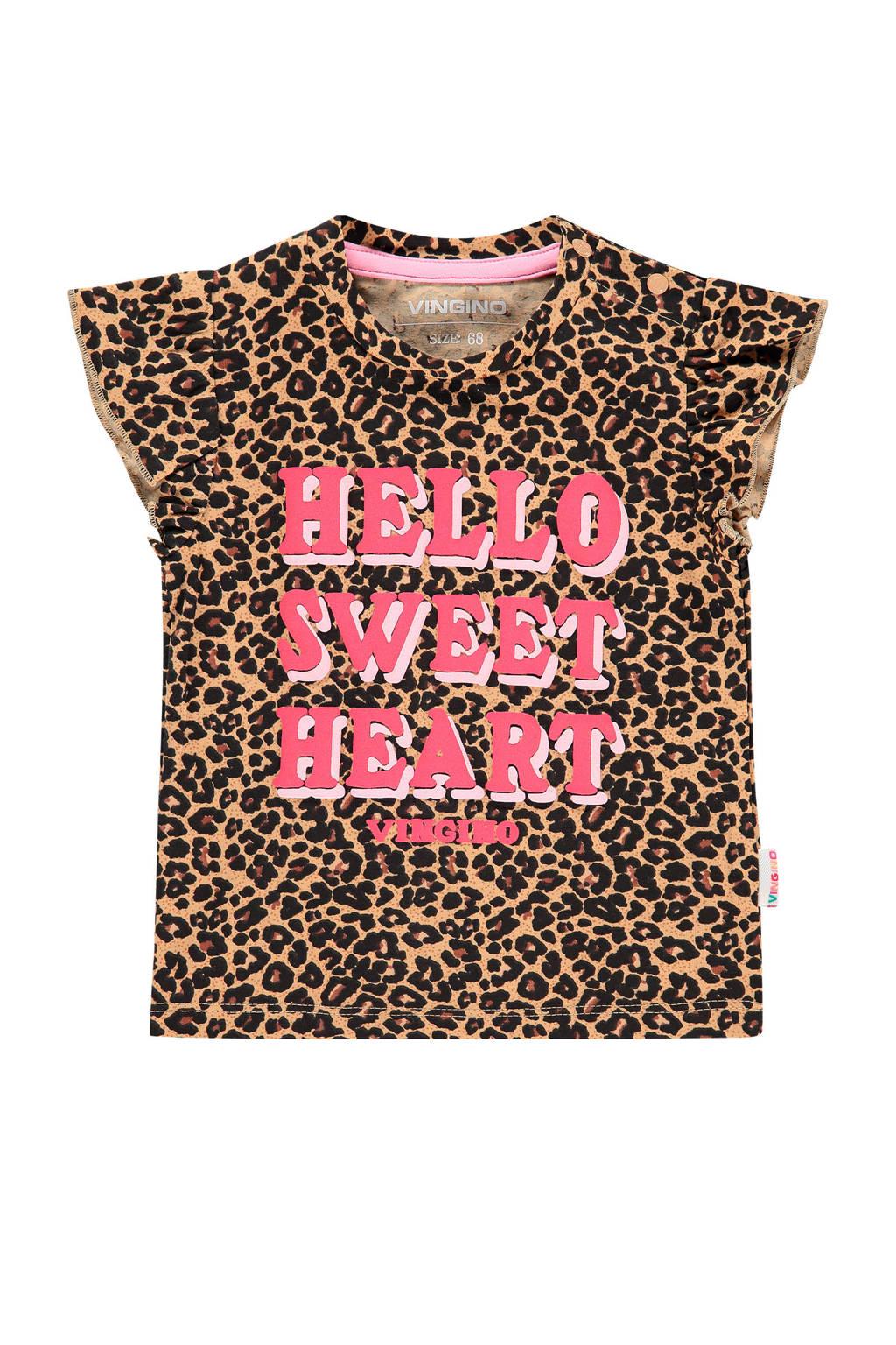 Vingino T-shirt Heidi mini met panterprint bruin/roze, Bruin/roze