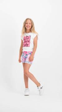 Vingino T-shirt Hestyne met printopdruk wit/neon roze, Wit/neon roze
