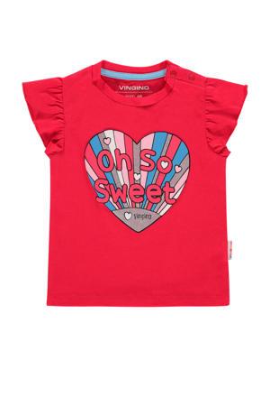 T-shirt Heidi mini met printopdruk rood/blauw