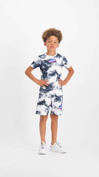 Vingino T-shirt Hannu met all over print wit/donkerblauw, Wit/donkerblauw