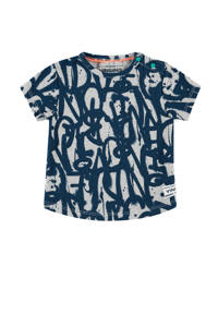 Vingino T-shirt Hidde mini met all over print donkerblauw/grijs melange, Donkerblauw/grijs melange
