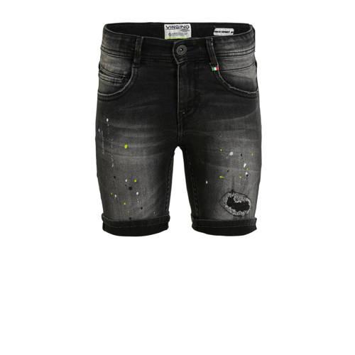 Vingino jeans bermuda Carlisio met slijtage dark g