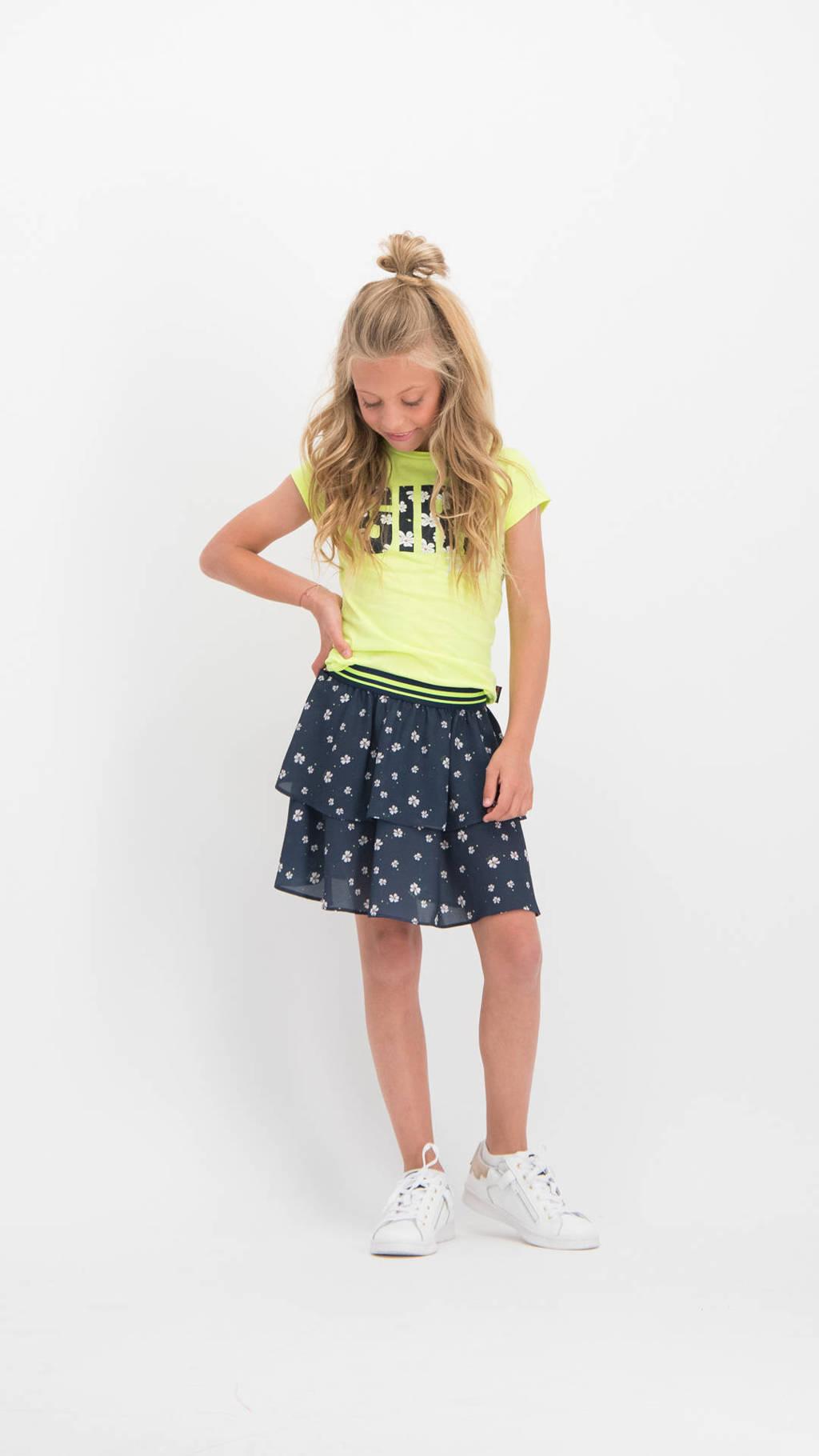 Vingino T-shirt Hilany met tekst neon geel, Neon geel
