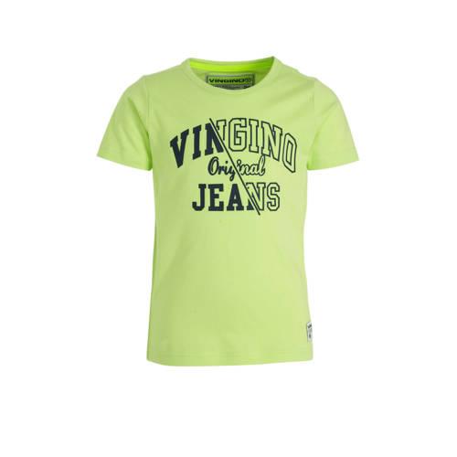Vingino T-shirt Harjan met logo limegroen