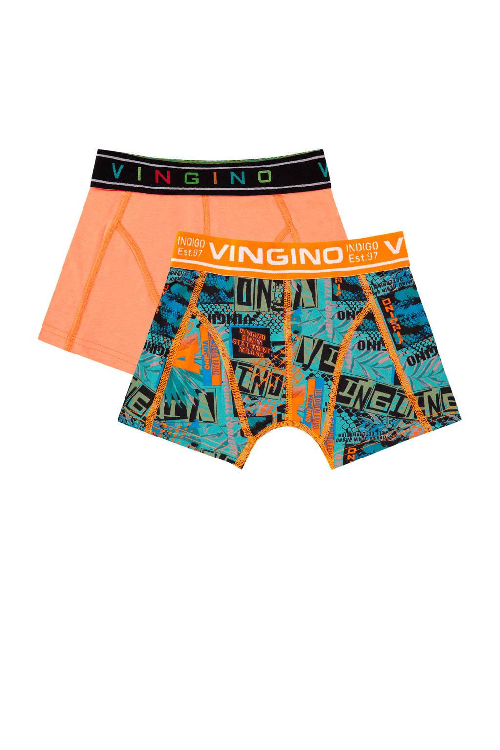 Vingino   boxershort Street - set van 2 oranje/blauw, Oranje/blauw