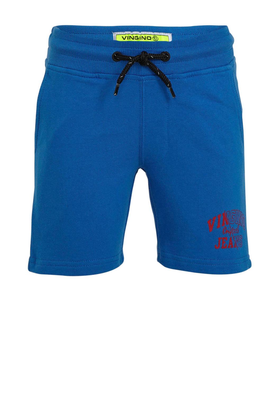Vingino sweatshort Rexx met logo blauw, Blauw/rood