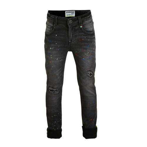 Vingino skinny jeans Anzio met slijtage antraciet/