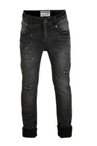 Vingino skinny jeans Anzio met slijtage antraciet/rood/blauw, Antraciet/rood/blauw
