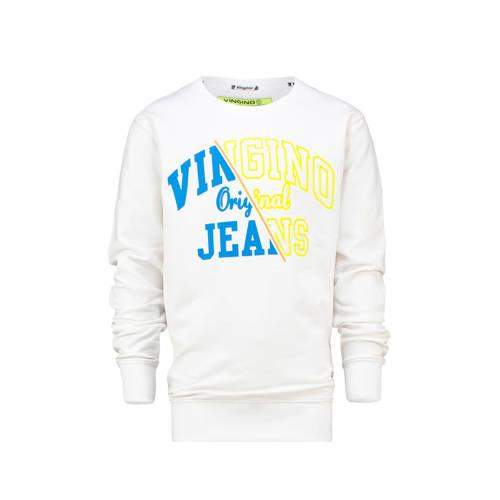 Vingino sweater Neone met logo wit/geel/blauw