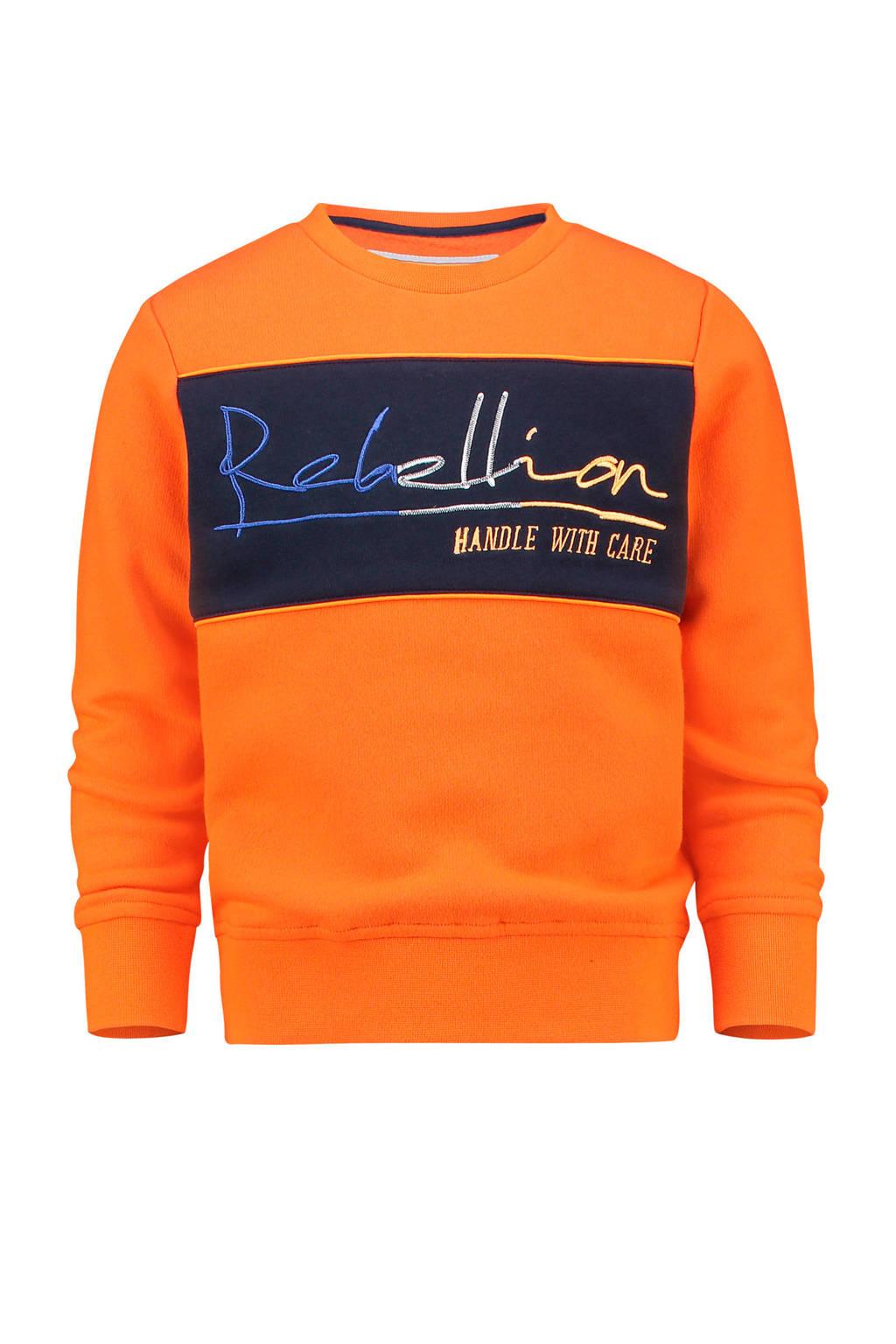 Vingino sweater Nasche met tekst oranje/donkerblauw/grijs, Oranje/donkerblauw/grijs