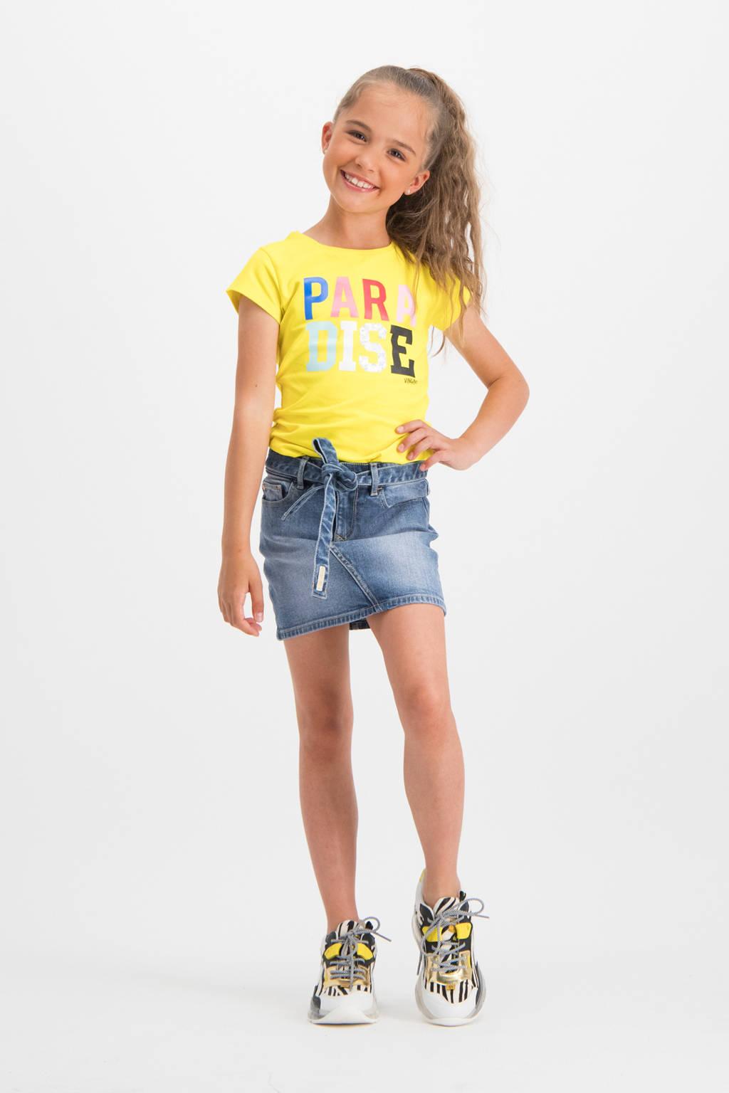 Vingino T-shirt Helsa met tekst felgeel, Felgeel