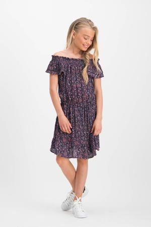 gebloemde off shoulder jurk Prinza donkerblauw/roze