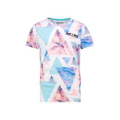 Vingino T-shirt Halm met all over print lichtblauw
