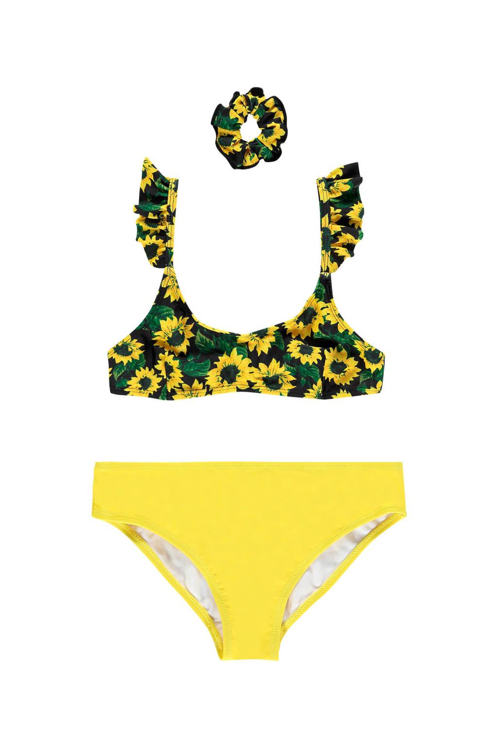 Vingino bikini Zelia met scrunchie zwart/geel, Zwart/geel