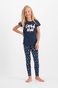 Vingino pyjama Wida donkerblauw/wit, Donkerblauw/roze