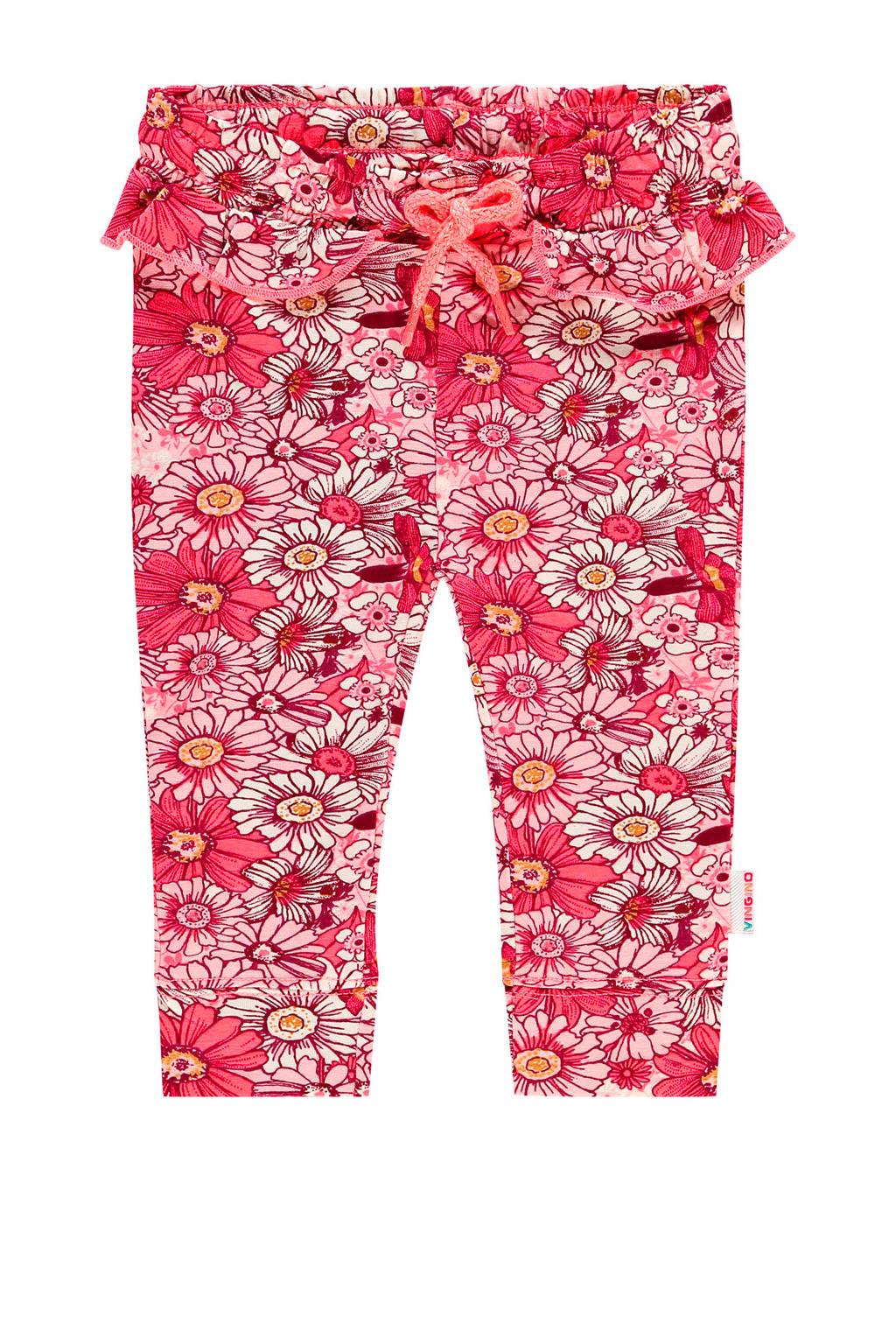 Vingino gebloemde broek Sterre mini rood/roze, Rood/roze