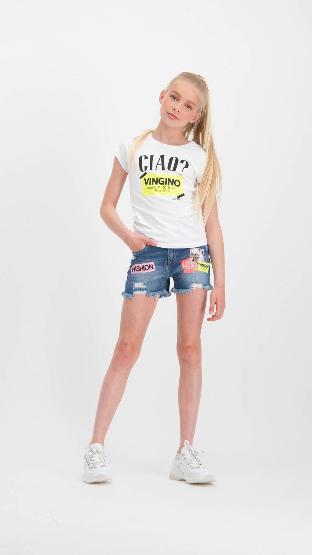 Vingino jeans short Donna met patches old vintage, Old vintage