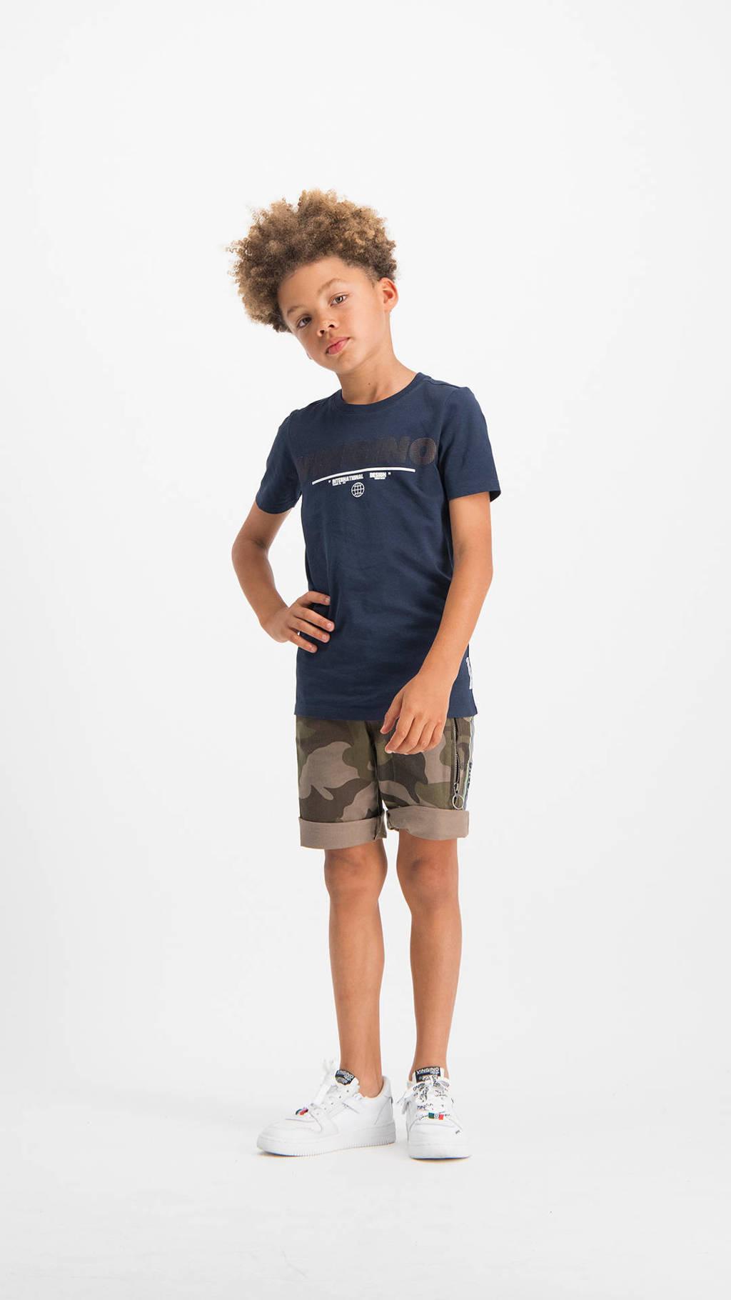 Vingino T-shirt Hanko met logo donkerblauw, Donkerblauw