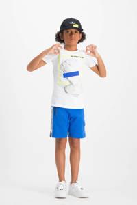 Vingino cargo sweatshort Rezz met zijstreep blauw/wit/zwart, Blauw/wit/zwart