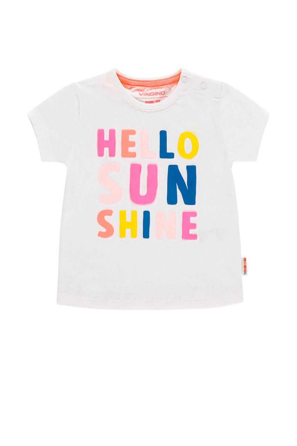 Vingino T-shirt Hala mini met tekst wit, Wit